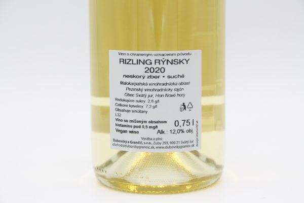 Dubovský & Grančič Riesling 2020, zadná, etiketa, vína